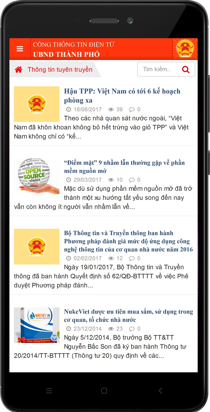 NukeViet eGovernment - Giao diện Mobile